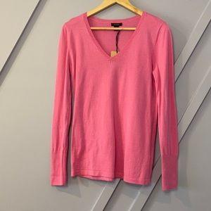 Halogen pink v-neck long sleeve cozy warm sweater